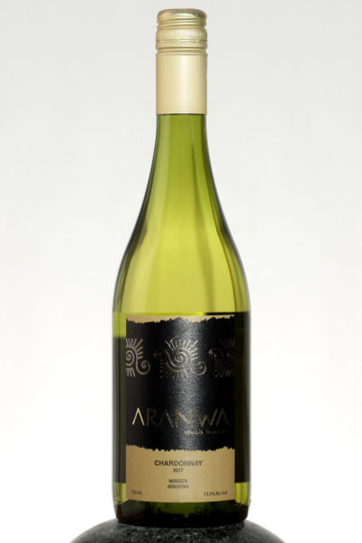 bottle of Aranwa Chardonnay wine