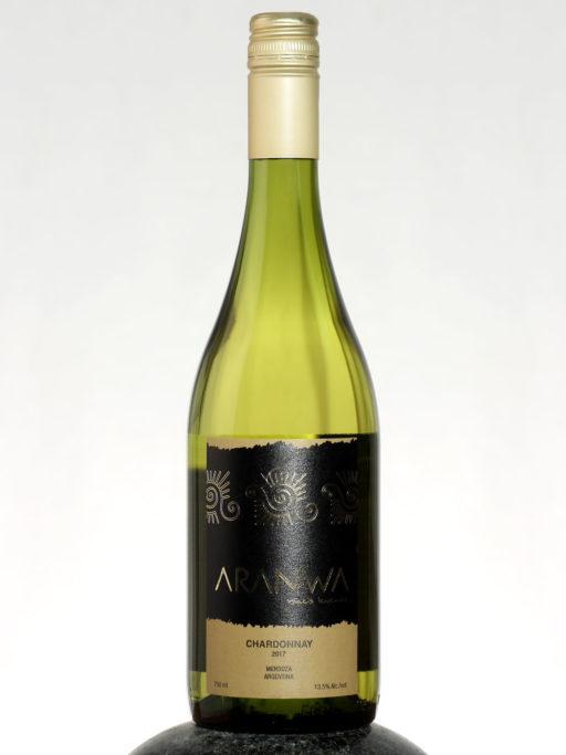 bottle of Aranwa Chardonnay wine