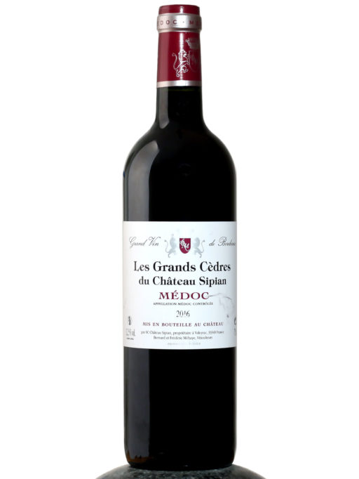 a bottle of Le Grands Cedres du Chateau Sipian Medoc 2016 wine