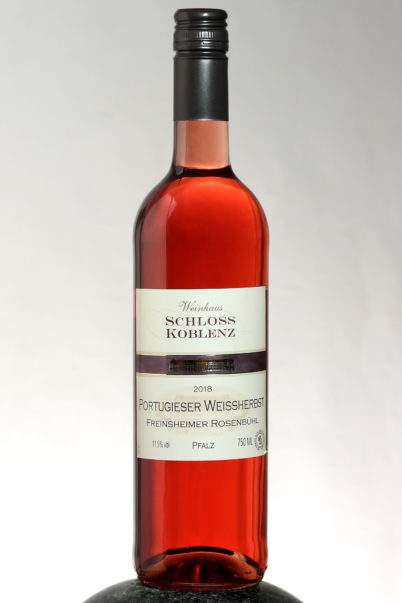 bottle of Schloss Koblenz Portugieser Weissherbst wine