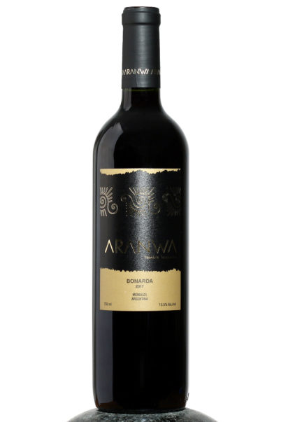 bottle of Aranwa Bonarda wine
