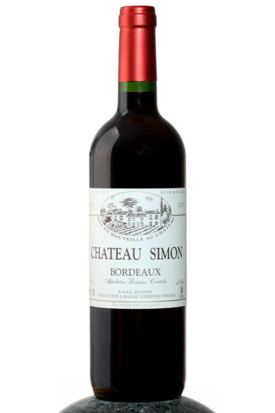 a bottle of Chateau Simon Bordeaux wine
