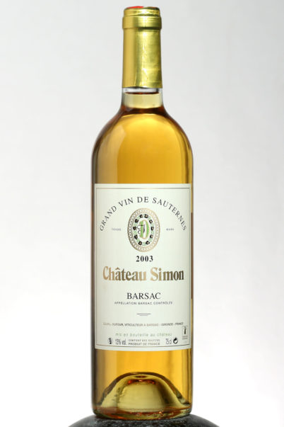 bottle of Chateau Barsac Sauternes 2003 wine