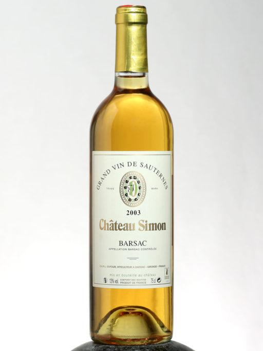 bottle of Chateau Barsac Sauternes 2003 wine