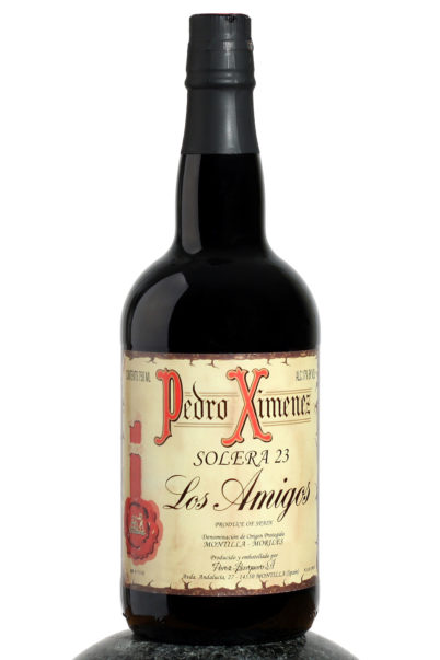 a bottle of Los Amigos solera sherry