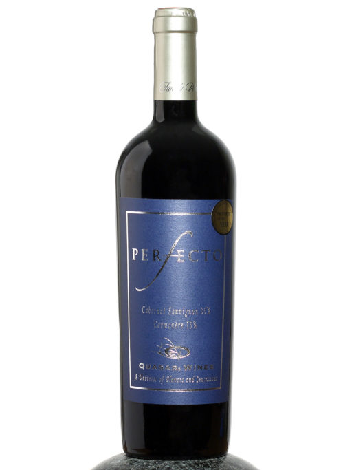 bottle of Quasar Perfecto Cab Sav Carmenere wine
