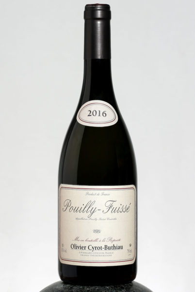 bottle of Olivier Cyrot Buthiau Pouilly Fuisse wine