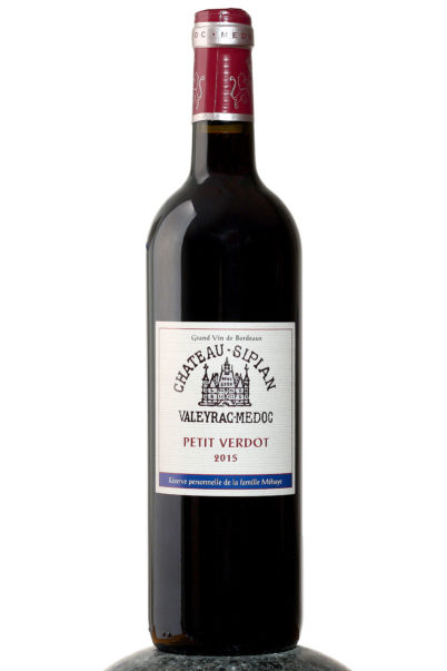bottle of Chateau Sipian Petit Verdot wine
