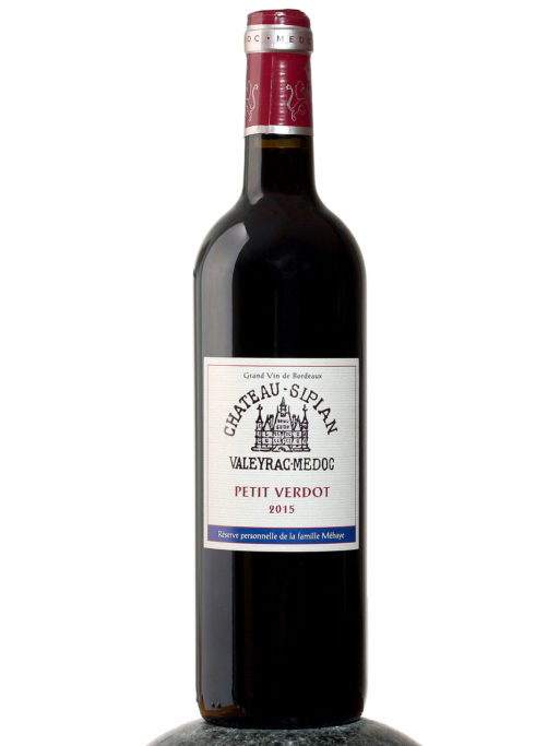 bottle of Chateau Sipian Petit Verdot wine